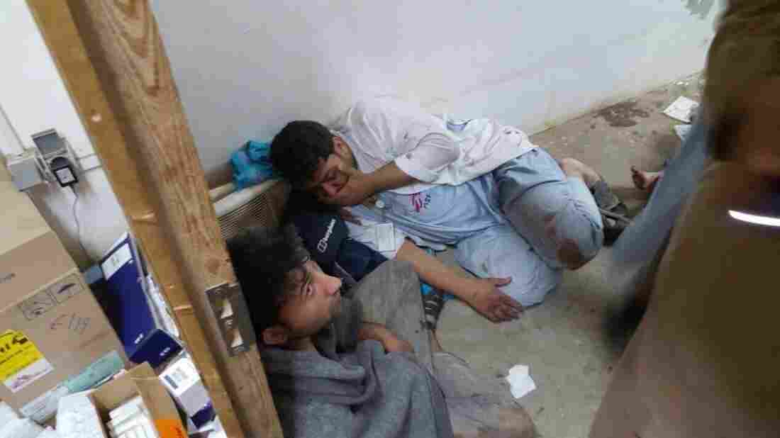 Injured Doctors Without Borders staff find shelter in a safe room after the bombing raid hit their hospital in Kunduz, Afghanistan.