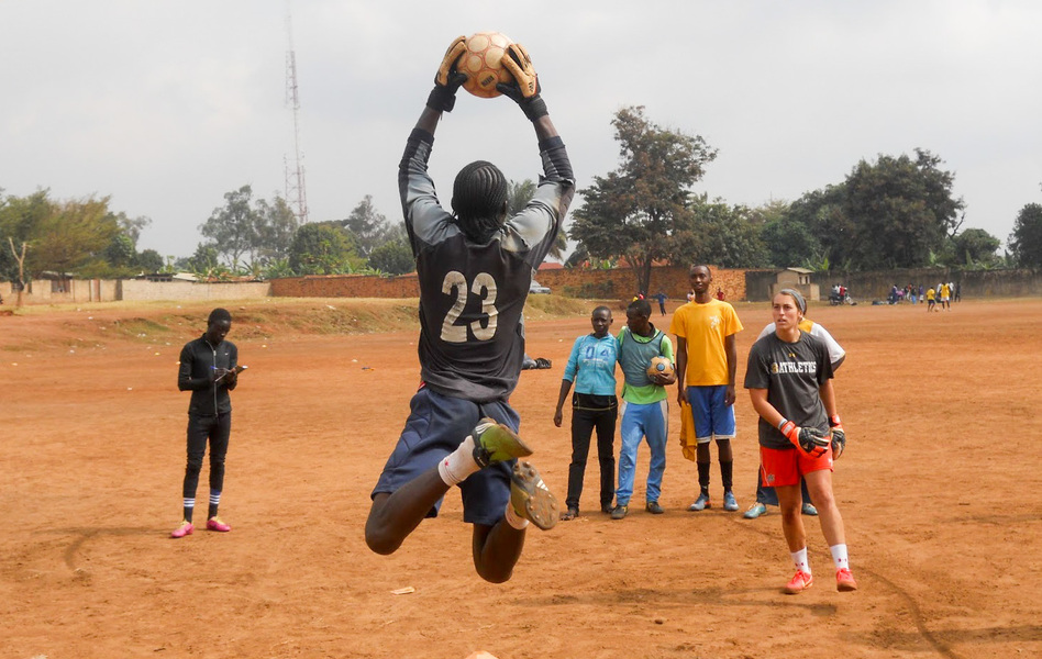 Kids in Uganda get goalkeeper training from Soccer Without Borders. (Courtesy of Soccer Without Borders)