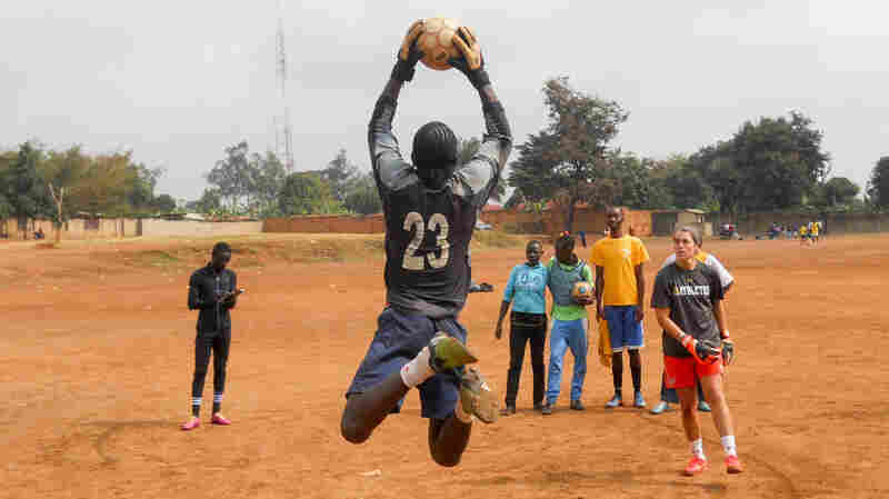 Kids in Uganda get goalkeeper training from Soccer Without Borders.