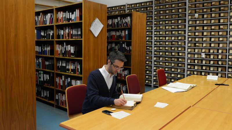 Stefano Rocchi, a researcher on the Thesaurus Linguae Latinae, the comprehensive Latin dictionary that has been in the works since 1894 in Germany. Researchers are currently working on the letters N and R. They don't expect to finish until around 2050.