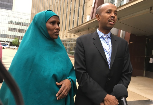 """Three Somali-American men accused of plotting to join the Islamic State are on trial in Minneapolis. Fadumo Hussein (left) is the stepsister who reared one of the defendants, Guled Omar. She calls him her son and says, """"we are not terrorists."""" Sadik Warfa (right) is a community leader in Minneapolis."""