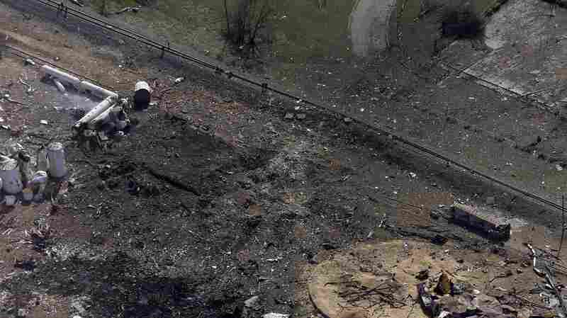 An aerial photo shows a crater and the remains of a fertilizer plant destroyed by an explosion in West, Texas, one day after the blast.