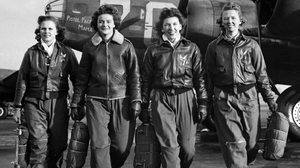 WASP (from left) Frances Green, Margaret Kirchner, Ann Waldner and Blanche Osborn leave their B-17, called Pistol Packin' Mama, during ferry training at Lockbourne Army Air Force base in Ohio. They're carrying their parachutes.