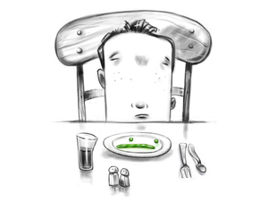 Illustration of a young boy making a face at peas that are arranged like an unhappy face on his plate.
