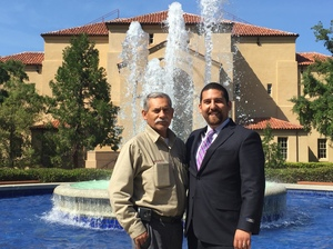 Francisco and Frankie at one of the fountains on the Stanford campus that Francisco cared for over the years.