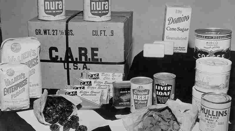 """A typical CARE package. """"My mother, I am so thankful, had a fantastic imagination for how to make things with limited ingredients,"""" recalls Renate Senter, 77. Her family first received one of the parcels in 1946 while living in West Germany, after fleeing Poland."""