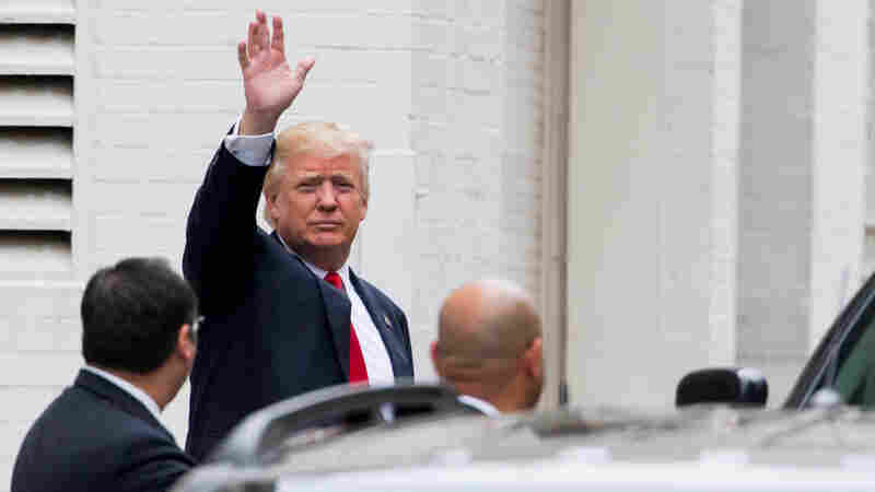 Republican presidential candidate Donald Trump arrives for a meeting with House Speaker Paul Ryan at the Republican National Committee Headquarters on Capitol Hill Thursday.