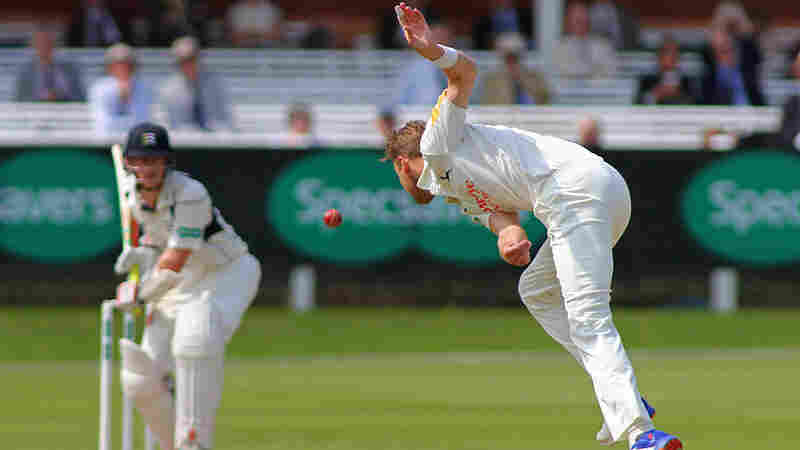 Stuart Broad of Nottinghamshire bowls at Nick Gubbins of Middlesex during a match at Lords Cricket Ground in London.