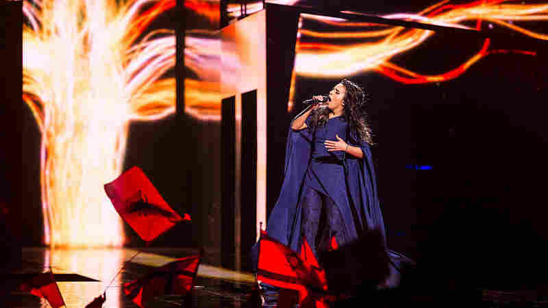 """Ukraine's Jamala performs the song """"1944"""" during the semifinals of the 2016 Eurovision Song Contest in Stockholm, Sweden, on Thursday."""
