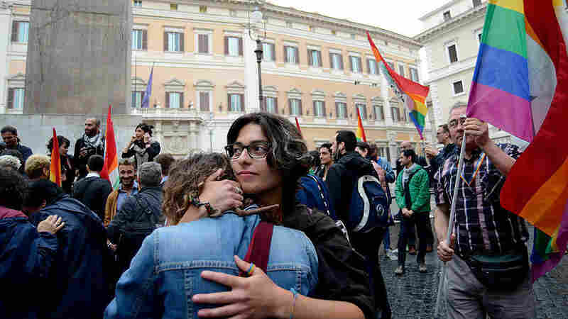 Members of the LGBT community and supporters filled Rome's Piazza Montecitorio on Thursday to celebrate the vote on same-sex civil unions by the Chamber of Deputies.