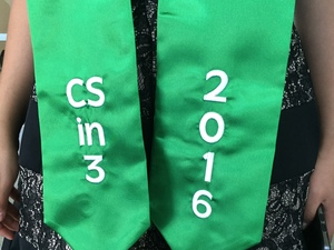 CSin3 students will wear this green sash when they graduate from Cal State Monterey Bay on Saturday.