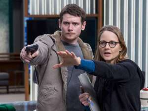 "Jodie Foster has found that directing allows her to realize a complete vision: ""It's a full expression of who I am and what I think,"" she says. (Above) Foster works with actor Jack O'Connell on the set of Money Monster."