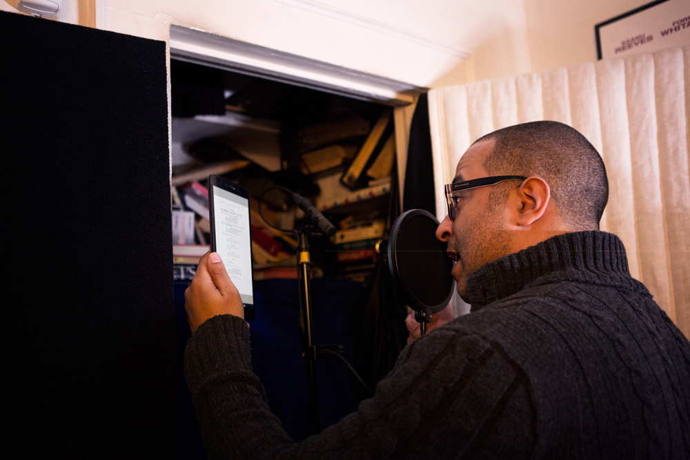 Mendez reads from a Jane the Virgin script in his bedroom recording studio   He records. How The Narrator Of  Jane The Virgin  Found His Voice   88 5 WFDD