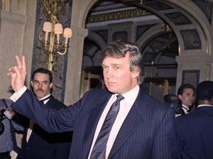 Donald Trump is seen in New York in 1991, the year of a phone call in which Trump allegedly posed as his own spokesman. The presidential candidate denied it was him after The Washington Post published the recording.