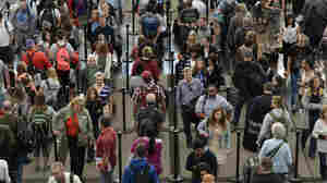 "Security screening lines at the Denver International Airport earlier this month. ""Waiting three hours for what may be a two-hour flight or 90-minute flight is not acceptable,"" Homeland Security Secretary Jeh Johnson said. ""It would tax everybody's patience."""