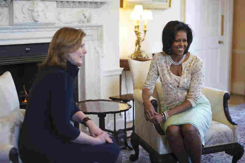 Michelle poses with Sarah Brown, the wife of British Prime Minister Gordon Brown, at 10 Downing Street, in London, on April 1, 2009. Her sweater sold out later that day.