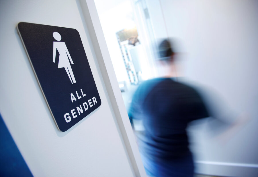 Bathroom Sign Person when a transgender person uses a public bathroom, who is at risk