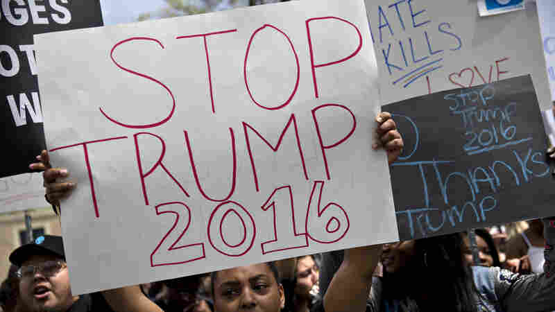 """A demonstrator holds a """"Stop Trump 2016"""" sign across the street from an April 25 Donald Trump rally, in West Chester, Pa."""