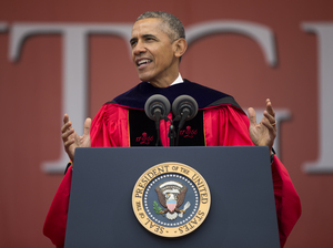 President Obama speaks during Rutgers University's 250th anniversary commencement ceremony on Sunday in New Brunswick, N.J.