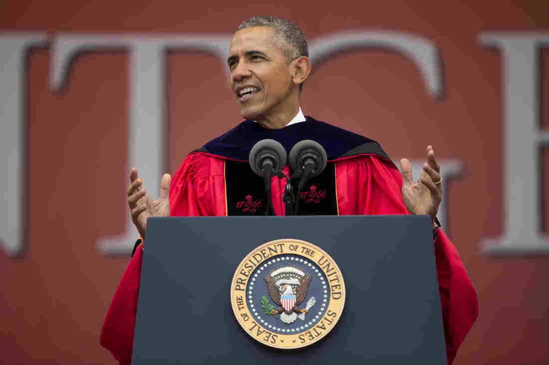 President Barack Obama speaks during Rutgers University's 250th Anniversary commencement ceremony on Sunday in New Brunswick, N.J.