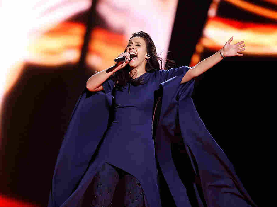 "Jamala representing Ukraine performs the song ""1944"" at the Ericsson Globe on Saturday in Stockholm, Sweden."