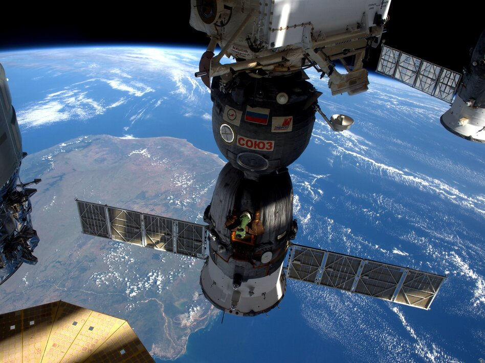 The Soyuz MS-12 spacecraft is pictured docked to the