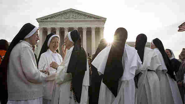Nuns opposed to the Affordable Care Act's contraceptive mandate rally outside the Supreme Court on March 23 prior to oral arguments in Zubik v. Burwell. The Supreme Court sent the case back to a lower court on Monday.