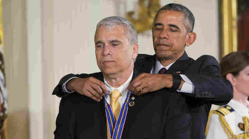 President Obama presents the Medal of Valor to Officer Mario Gutierrez, of the Miami-Dade Police Department, Fla., during a ceremony in the East Room of the White House on Monday.