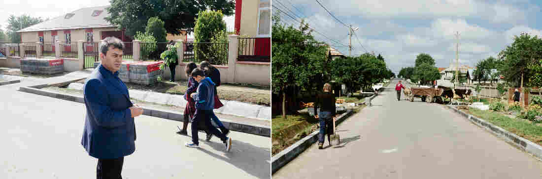 Ion Aliman, the mayor of Deveselu, Romania (left). Behind him, students walk toward a school rebuilt with U.S. funding. In the photo on the right, roadwork takes place in advance of last week's ceremony inaugurating a U.S. Navy facility just outside the town.