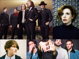Clockwise from upper left: My Morning Jacket, Haley Bonar, The 1975, SOAK