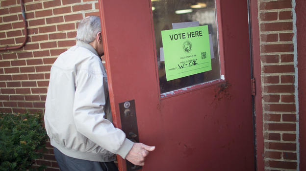 A voter enters a polling place on May 3 in Whiting, Ind. Older voters feel that the issues that concern them haven't been mentioned enough on the campaign trail. (Getty Images)
