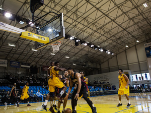 The Canton Charge, in yellow, play against the Idaho Stampede at the NBA D-League Showcase at the Kaiser Permanente Arena in Santa Cruz, Calif., on Jan. 6.