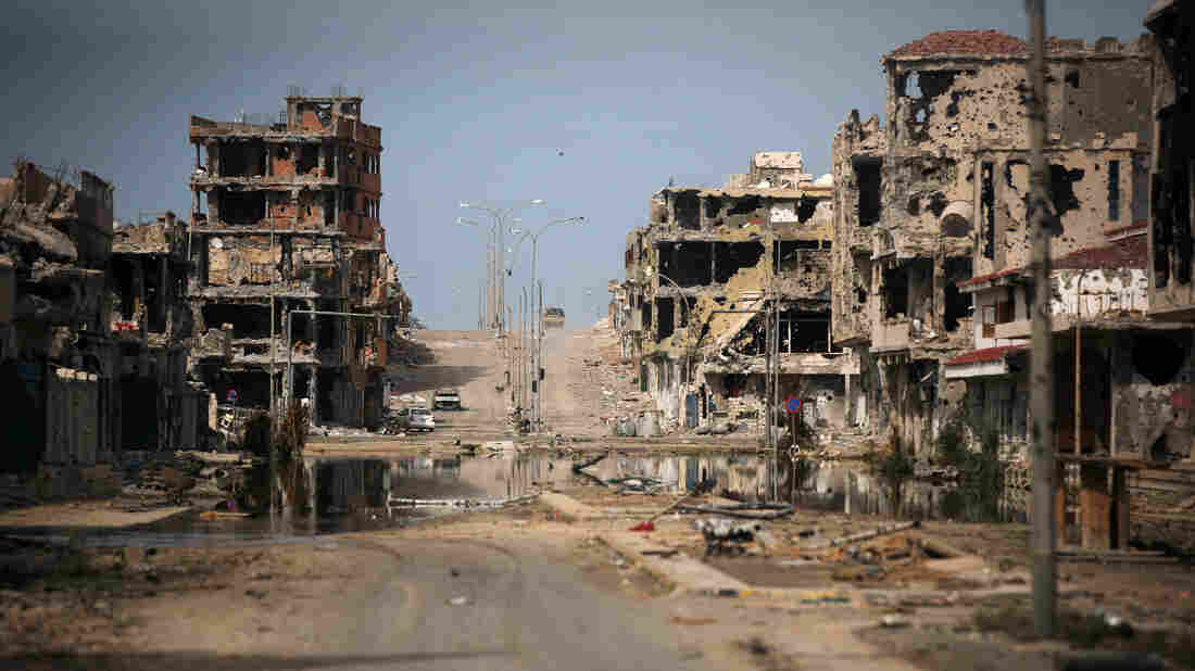 A view of buildings ravaged by fighting in Sirte, Libya, in 2011.