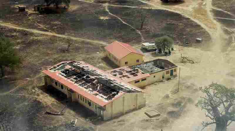 An aerial photo from March 5, 2015, shows the burned-out school in Chibok, Nigeria, where Boko Haram militants seized 276 teenage schoolgirls on April 14, 2014.