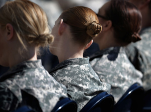 "Soldiers, officers and civilian employees attend a ceremony for the U.S. Army's annual observance of Sexual Assault Awareness and Prevention Month in March 2015 in Arlington, Virginia. According to the Pentagon, the initiative is ""meant to reinforce a climate of dignity and respect founded on good order and discipline."""