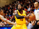 John Holland, No. 10 of the D-League's Canton Charge, looks to pass the ball against the Sioux Falls Skyforce at Canton Memorial Civic Center on Jan. 23, in Canton, Ohio. The 19 teams of the D-League — the NBA's development league — crisscross the country in a grueling, 50-game season.