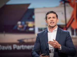 Architect Mark Kushner on stage at TED in 2014.