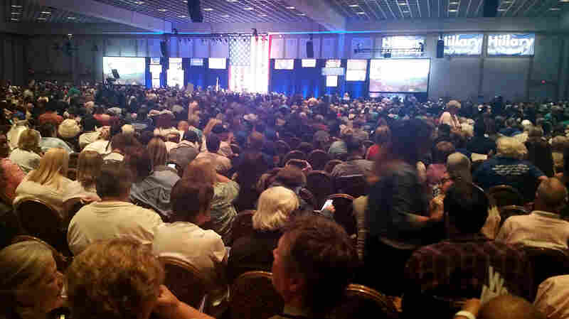 Thousands of people gather at the Paris Hotel in Las Vegas for the Nevada State Democratic Convention on May 14, 2016.