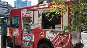 The Rickshaw Dumpling Truck parked in Manhattan in 2010.