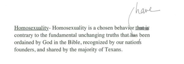 A corrected version of a part of the Texas Republican Party platform.
