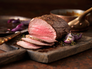 Chateaubriand steak cooked with a thick cut from the tenderloin filet, rare medium served with roasted onions, pepper and herbs.