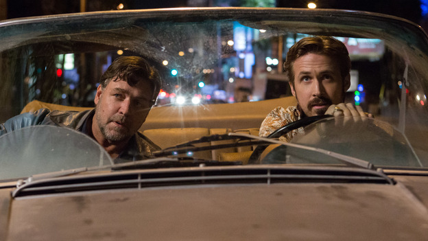 Russell Crowe and Ryan Gosling star in The Nice Guys, an action comedy from Shane Black — a writer-director who has long shown a fondness for sending up LA noir. (Warner Bros.)