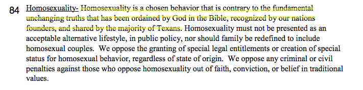 An excerpt from the 2016 Texas Republican Party platform.