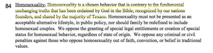 Texas republican platform homosexuality