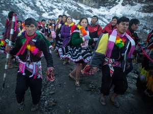 Each province represented at the festival used to carve out heavy chunks of ice from the glacier — symbol of water and life — to bring back to their communities.