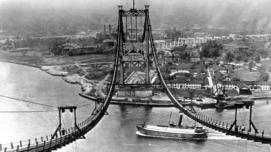 The Triborough Bridge is seen under construction in New York City on July 10, 1935. The bridge, now known as the Robert F. Kennedy Bridge, connects Long Island with Manhattan.  The Dutch Prime Minister is a fan of the biographer of Robert Moses, who was involved in building the bridge. (Associated Press)