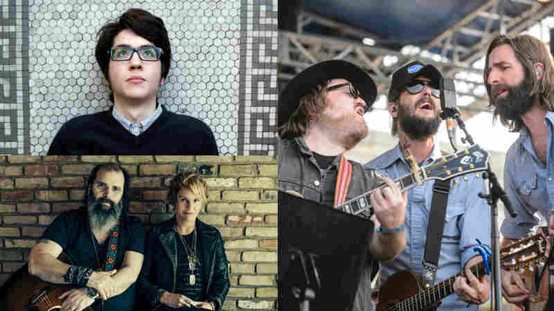 Clockwise from top left: Car Seat Headrest, Band of Horses, Shawn Colvin & Steve Earle.