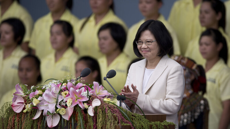 Taiwan President Tsai Ing-wen smiles at the crowd on Friday during her inauguration in Taipei, Taiwan.
