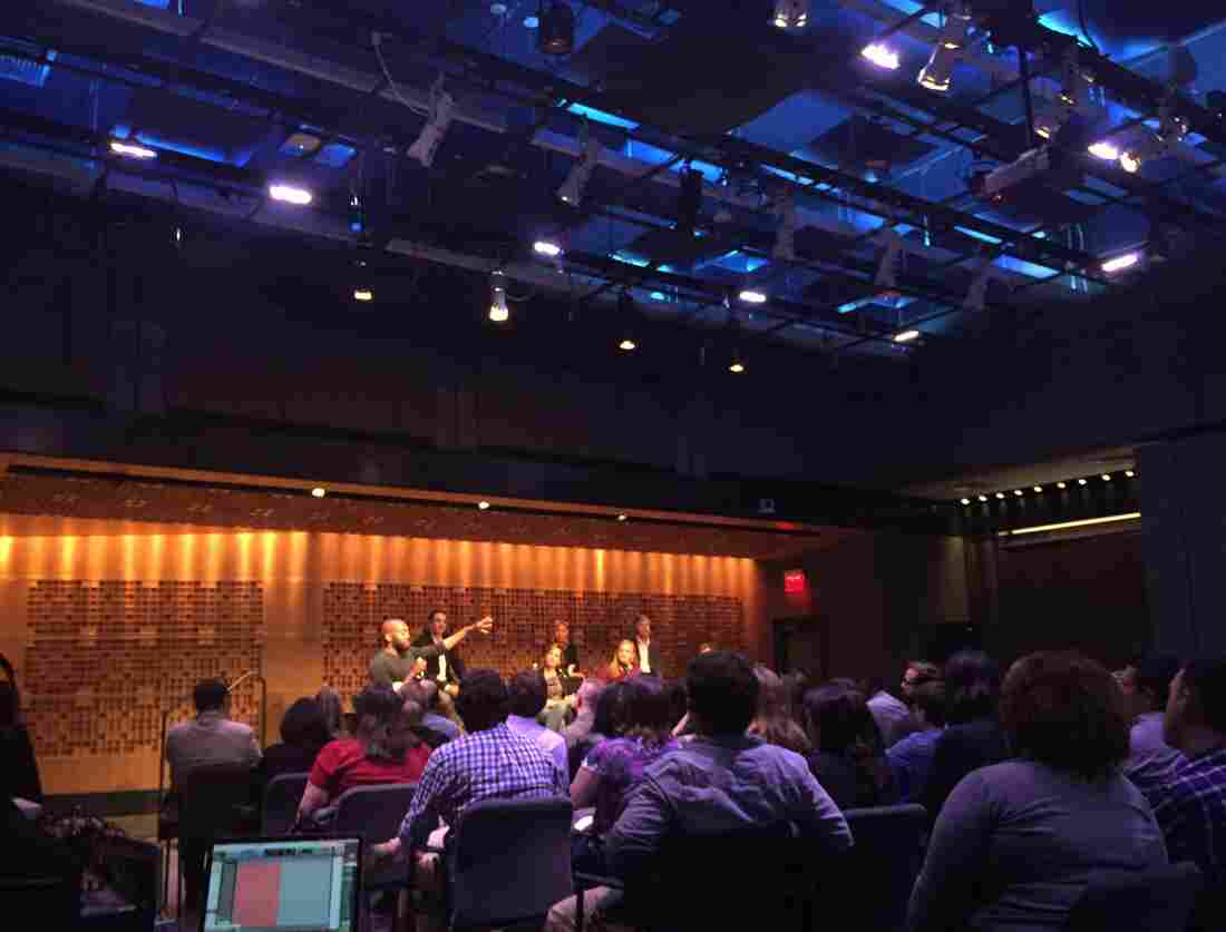 The NPR Politics team tapes its podcast in front of a studio audience at NPR headquarters in Washington, D.C.