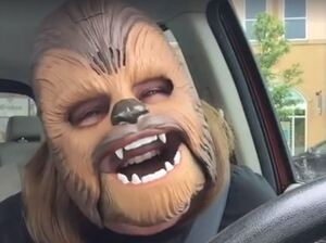 Here she is, in full Chewbacca glory, laughing to the point of full-on weeping.